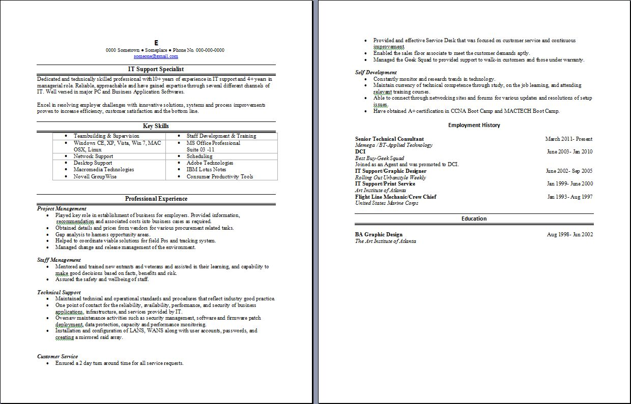 Sample resume Writing Service 88